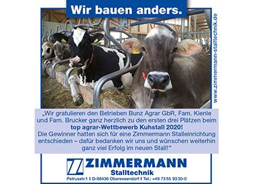 Spitzenplatzierungen beim top agrar Wettbewerb Kuhstall 2020